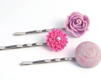 Hair Pins Purple,  Rose Pink Flower Bobby Pins, Pastel Garden Wedding Jewelry Under 15