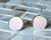 Opal Mermaid Jewelry, Opal Mermaid scale earrings, silver earrings, nautical earrings, best friend gift, bridesmaid jewelry, bridesmaid gift
