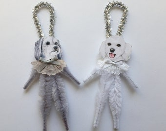 MALTIPOO ornaments dog ORNAMENTS vintage style chenille ornaments set of 2