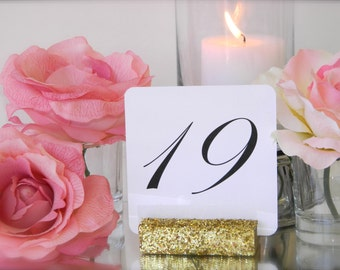 Table Card Holder + Gold Glitter Wedding- Gold Glitter Table Number Holder- Set of 15