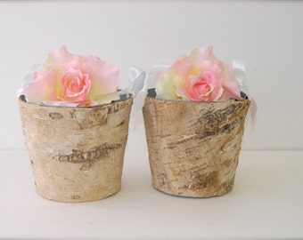 Flower Girl Baskets + Birch Flower Girl Baskets with Ribbon Handle (Set of 2)