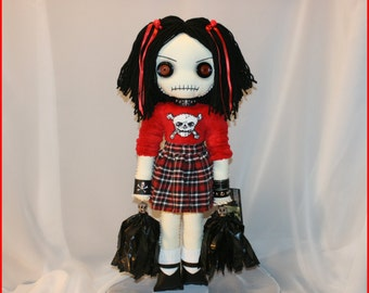 OOAK Hand Stitched Cheerleader Rag Doll Creepy Gothic Folk Art By Jodi Cain Tattered Rags