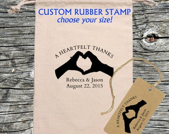 Wedding Favor Thank You rubber stamp - Heart Hands - Personalized, Customized - Handmade by Blossom Stamps