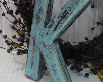 Letter K in Bird Egg Blue or Soft Blue with Black Accents ~~ cottage chic