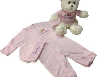 personalized infant romper/gown bear set