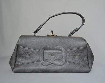 Vintage 1960s Heather Grey Purse with Studs and Faux Buckle, Large Handbag