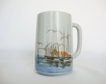 vintage Otagiri tall mug sailboats in harbor scene stoneware coffee cup