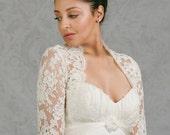 Rachel | Plus Size Wedding bolero jacket in French lace