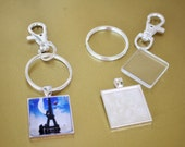 5  DIY Purse Clip Jewelry Key Ring Kit  5 Square Bezels 5 Glass Tiles 5 Key Rings 5 Swivel Clips Glass Tiles 32mm