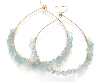 Aquamarine and Gold Fill Large Hoop Earrings