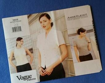 Uncut Vogue Sewing Pattern 1822 - Anne Klein II Misses'/Misses' Petite Blouse - size 6 8 10