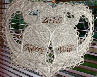Wedding  Cake Topper or Ornament Lace Personalized with Names and Year, Ornament, Holiday Ornament, Home Decoration