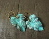 Leaf Earrings, Nature Inspired, Boho Earrings, Bohemian, Woodland Earrings, Patina, Turquoise, Dangle, Bohemian Jewelry, Pierced, Leaves
