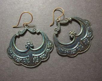 Boho Earrings, Bohemian, Moroccan Earrings, Boho Jewelry, Dangle, Gypsy Earrings, Statement Earrings, Art Deco Earrings, Patina, Indigo Blue