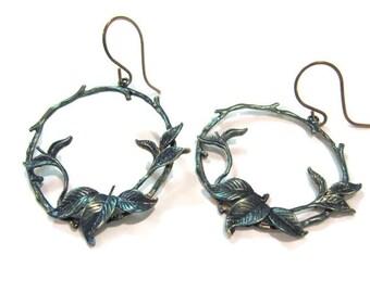 Boho Earrings, Hoop Earrings, Woodland Earrings, Bold, Bohemian, Hand Patina, Indigo Blue, Ivy, Round Hoops, Dainty, Nature Inspired, Gift