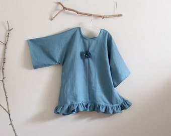 linen wavy top with pleated flower and ruffles made to order
