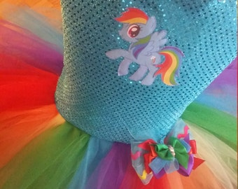 Weekend sale Rainbow Dash Birthday tutu dress up fully sewn little pony party outfit 12 months 2t 3t 4t 5t christmas