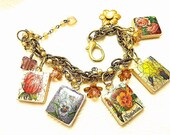 French Flowers Repurposed Scrabble Tile Bracelet