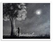 fairy art prints, art, wall art, dreamy night, pixie art, faery, fairie, fae, magical, magic, grey, art pictures, fairy prints, 8x10, tree
