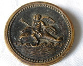 Large ANTIQUE Victorian Cherub Angel Riding Dolphin Metal BUTTON