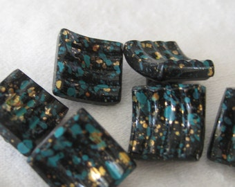 Set of 6 Small VINTAGE Spatter Paint Square Black Glass BUTTONS