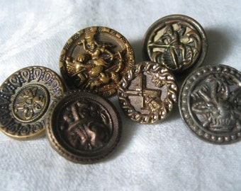 Lot of 6 ANTIQUE Metal Picture BUTTONS W6
