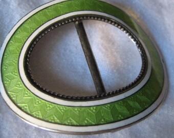 Sterling Silver VINTAGE Green & White Enamel Slide Belt Buckle