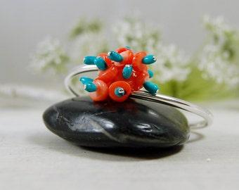 Sterling Silver Bangle Bracelet Coral American Turquoise Bracelet