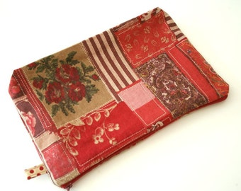 Oversize Zipper Pouch in Red Faux Patchwork Bag Purse French General