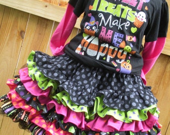Ready to Ship Custom Boutique Halloween Ruffle Nie Nie Skirt   Girls 12 inches long