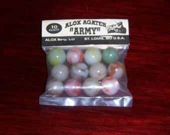 Vintage pre 1970 Alox Agate ARMY Swirl Marbles Original Bag Made in USA