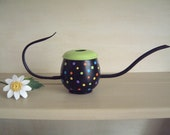 Saved for Nikki- Watering can- polka dots- Handmade- Germany- upcycled- African Violets- garden gifts- art- mid century- brass- outdoor