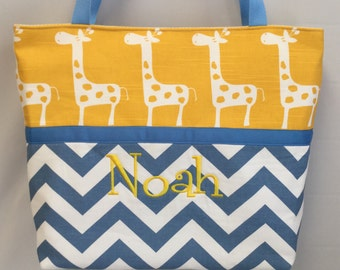 CHEVRON  in Blue   .. GIRAFFE  in Yellow  ...  ToTE ...  Diaper Bag ... Monogrammed  FReE