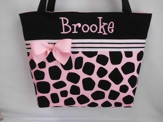 Pink .. GIRAFFE Print ....  Diaper  Bag .. Personalized FREE