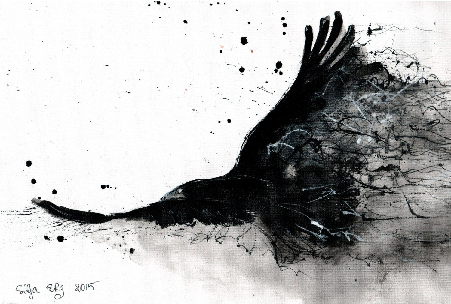ink drawing on canvas a4 abstract raven flight black smoke