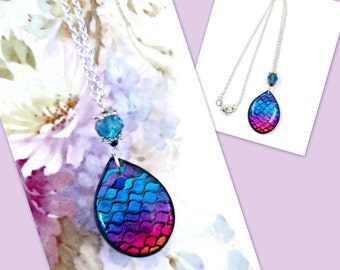 Blue/Violet Teardrop Pendant- Polymer clay Necklace-  Rainbow Necklace- BoHo Jewelry- Gifts for her