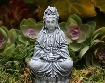 Kwan Yin Miniature Concrete Garden Statue - Kuan Yin Holding the Pearl of Wisdom