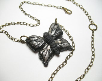 Hand Sculpted Moth Necklace -  Butterfly Necklace - Polymer Clay Jewelry