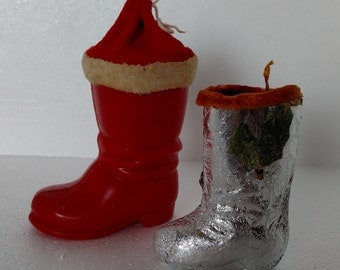 Vintage Christmas Holiday Santa Boot Candy Containers