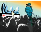 Art Block- Home Decor- Denver Bluebird Theater- BlueBird Illustration with Denver Landmark Theater Print on Wood