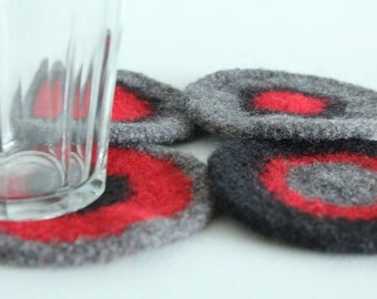 Coasters - Hand-knit Felted Wool - Red, Black, Gray