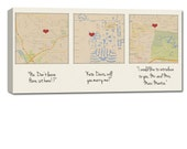 Cotton Anniversary Gift Custom Map Art using Three Locations, map picture heart, couple Geezees Canvas Personalized Wedding