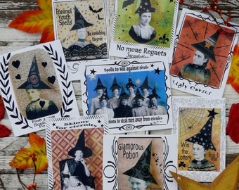 Halloween Witch Spells Potions labels PDF - Collage art Sheets