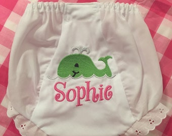 Embroidered Name Monogram Whale Bloomers Diaper Cover Panty Personalized Baby Child Fish Ocean Beach
