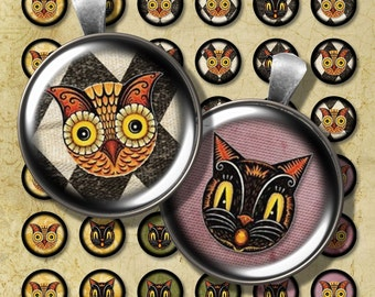 Vintage Cat Owl Halloween Digital Collage Sheet 1 Inch Bottlecap Circles Steampunk