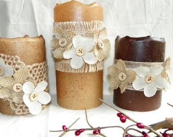 Flamesless Candles, a Battery LED Pillar Candles, 4 or 6 Inch Primitive Textured TIMER PILLAR Candles, Battery Operated