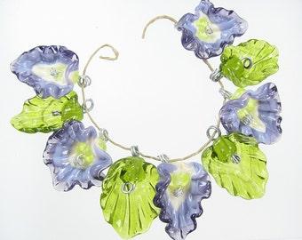 Handmade Glass Lampwork Drop Flower Bead Set - 5 Purple Flowers and 4 Leaves
