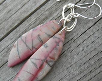 Pink Picasso Jasper Sterling Silver Earrings