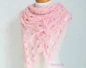 Crochet shawl, Pink shawl, pink lace shawl, lace crochet shawl, N358