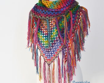 Bohemian crochet shawl with fringe, N363